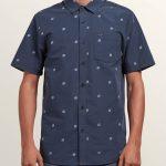 Volcom Frequency Dot Short Sleeve Shirt – Midnight Blue – XXL
