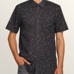 Volcom Quency Dot Short Sleeve Shirt – Asphalt Black – M