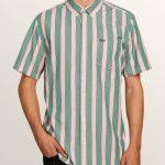 Volcom The Bold Stripe Short Sleeve Shirt – Deep Sea – XS