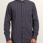 Volcom Toner Stripe Long Sleeve Shirt – Midnight Blue – M