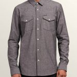 Volcom Hayes Long Sleeve Shirt – Grey – XXL
