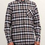Volcom Caden Plaid Long Sleeve Flannel – Black – XS