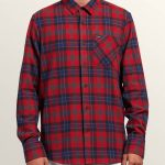 Volcom Caden Plaid Long Sleeve Flannel – Engine Red – XS
