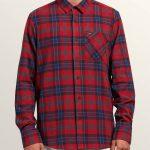 Volcom Caden Plaid Long Sleeve Flannel – Engine Red – M
