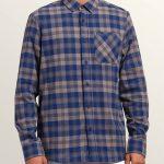 Volcom Caden Plaid Long Sleeve Flannel – Matured Blue – XS