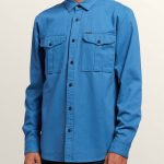 Volcom Huckster Long Sleeve Shirt – Used Blue – XXL
