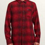 Volcom Buffalo Glitch Long Sleeve Shirt – Engine Red – XXL