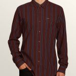 Volcom Clasher Long Sleeve Shirt – Bordeaux Brown – XS