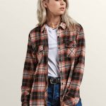Volcom Getting Rad Plaid Long Sleeve Flannel – Black Plaid – Black Plaid – M