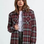 Volcom Plaid About You Long Sleeve Flannel – Burgundy – L