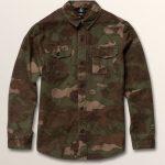 Volcom Big Boys Huckster Long Sleeve Shirt – Army – XL
