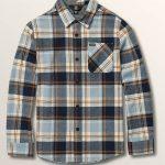Volcom Big Boys Caden Plaid Long Sleeve Flannel – Slate Blue – XL